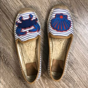 Tory Burch Crab Striped Espadrille Flat